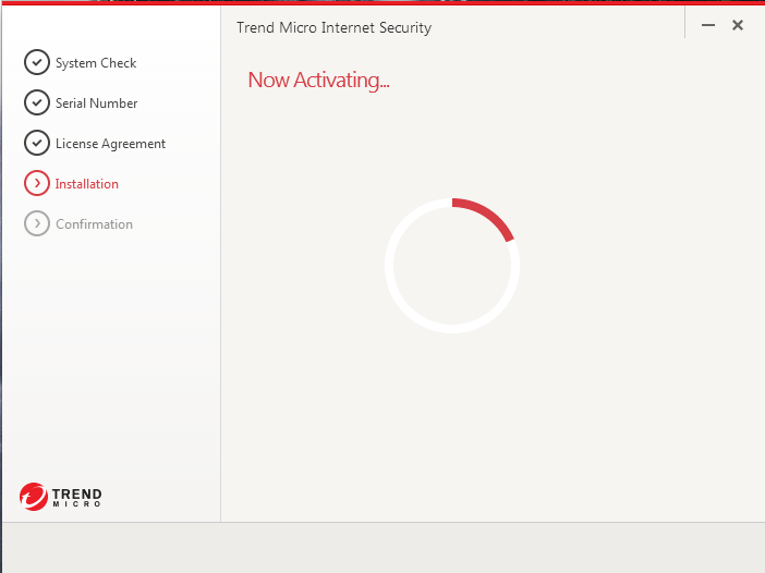 Screenshot of window showing activation progress