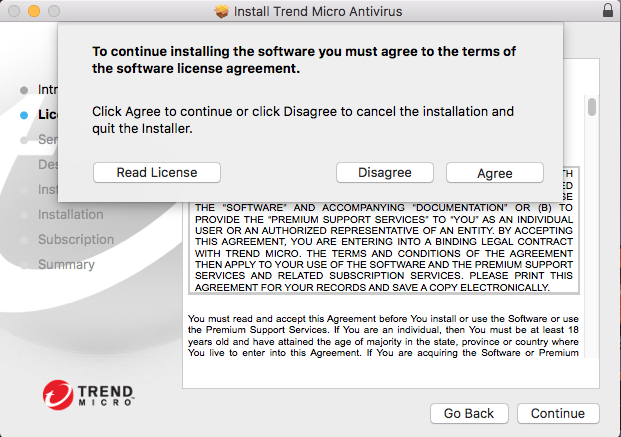 Screenshot showing popup for agreeing to the software license agreement