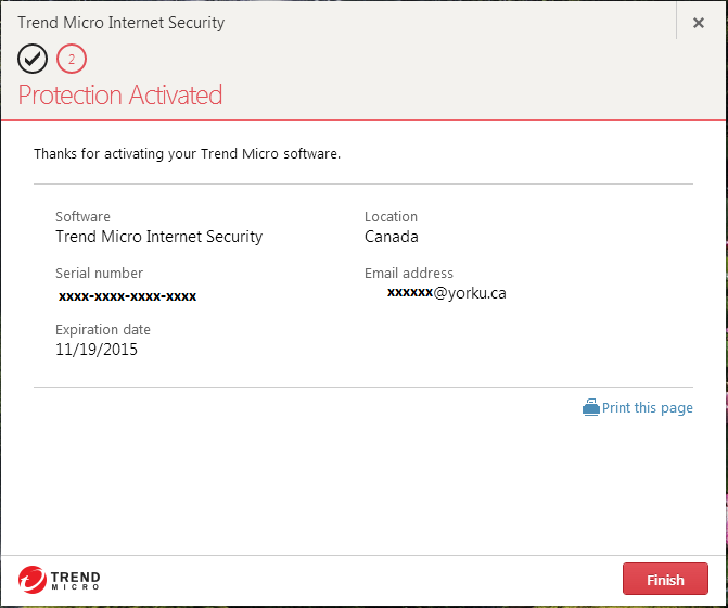 Screenshot showing Trend Micro Internet Security protection activated