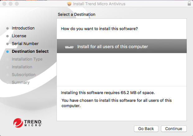 Screenshot for installing Trend Micro for all users using this computer