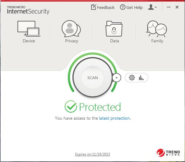 Screenshot of window showing machine is protected