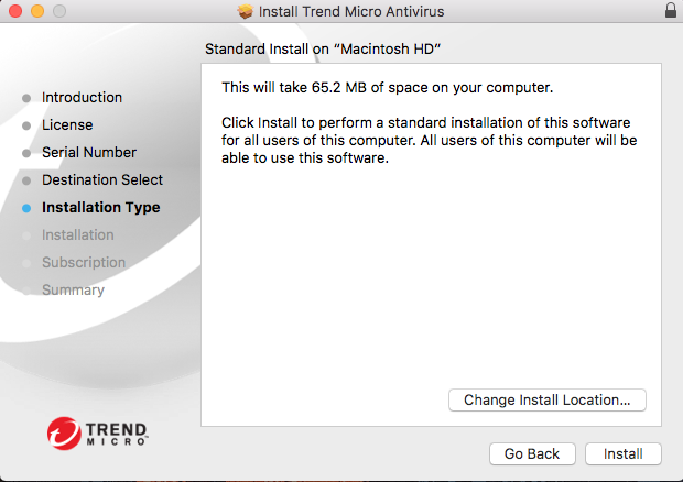 Screenshot show how much space is required for the installation
