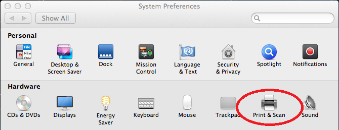 Screenshot of system preferences with Print and Scan selected