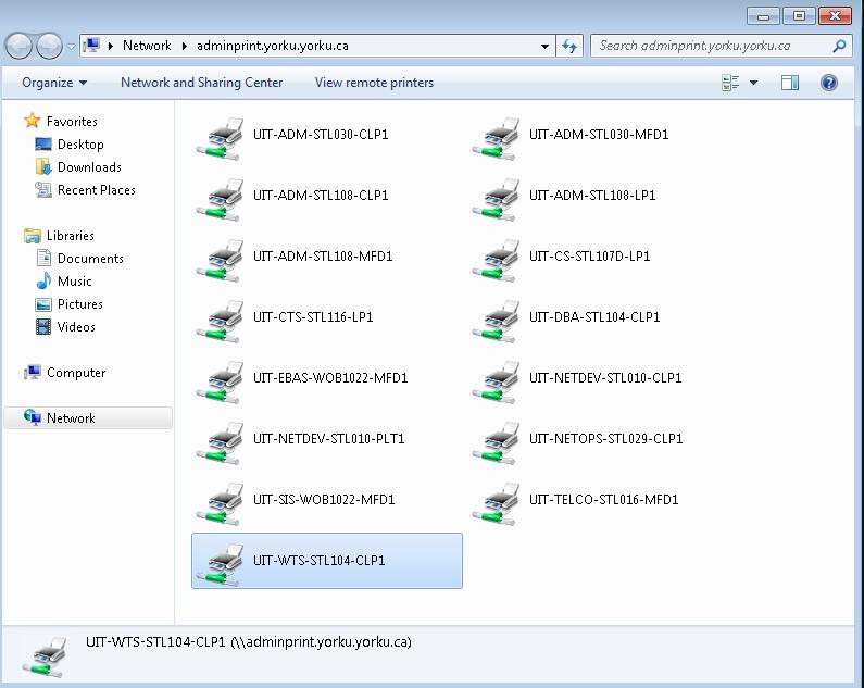Screenshot of list of printers