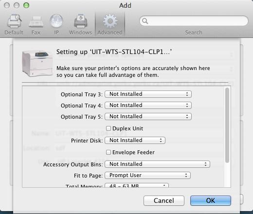 Screenshot of printer details after clicking on add