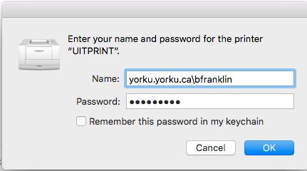 Screenshot of window requiring username and password