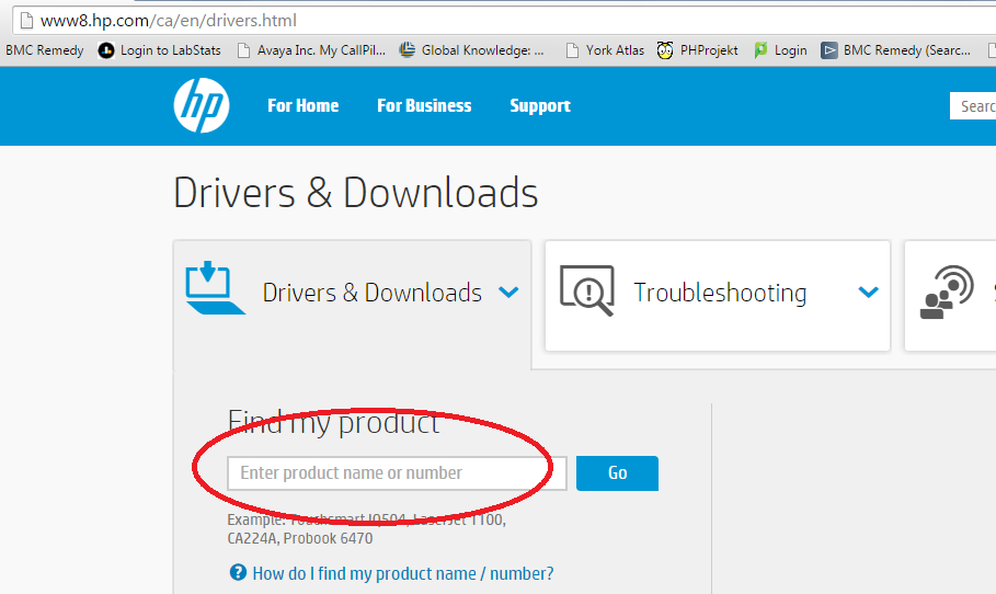 Screenshot of field requesting product name or number