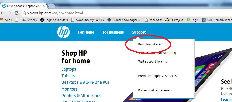 Screenshot showing download drivers on HP Website