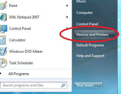 Screenshot of devices and printers