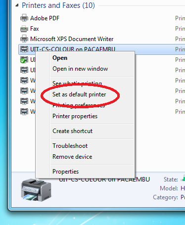 Screenshot of setting a printer as a default printer