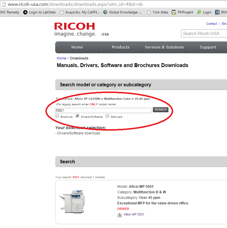 Screenshot of searching for product on the Ricoh website