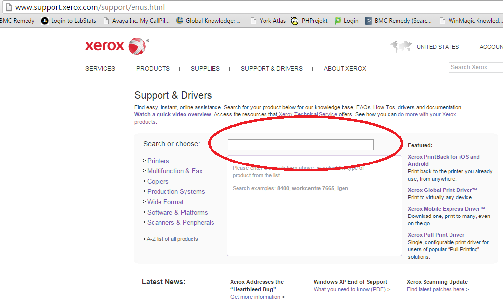 Screenshot of searching for printer on the Xerox website