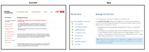 Screenshot of old and new Manage My Services screen