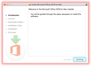 """Screenshot of on the Introduction page of the """"Install Microsoft Office 365 for Mac"""" window, click """"Continue"""""""