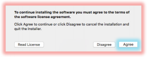 Screenshot of agreeing to the license agreement