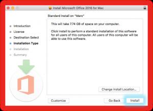 Screenshot of installing MS Office