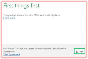 Screenshot of accepting MS Office License Agreement