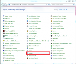 Screenshot of selecting system in control panel