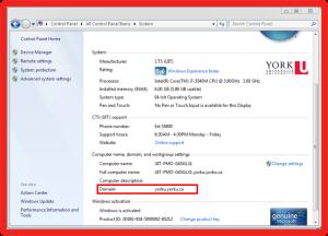 Screenshot of showing domain