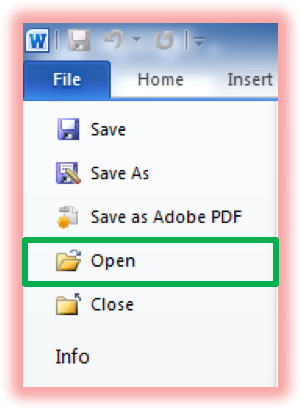 Screenshot of clicking on Open File in the navigation menu