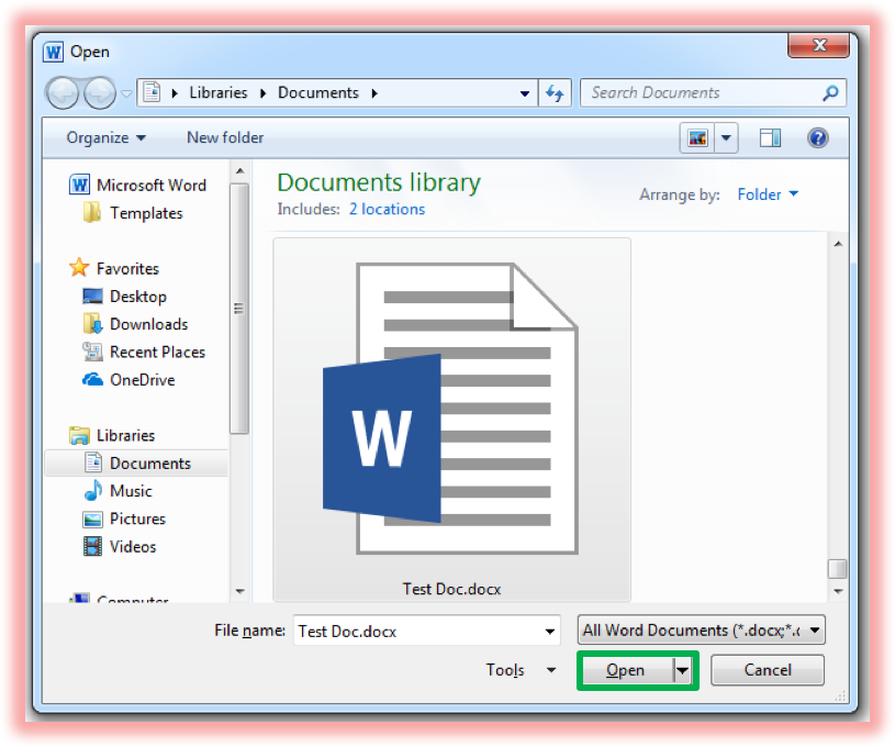 Screenshot of window showing document to be opened