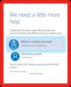 work or school account