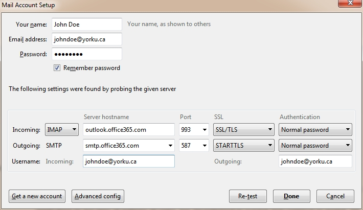 Screenshot of mail account setup with incoming and outgoing server settings
