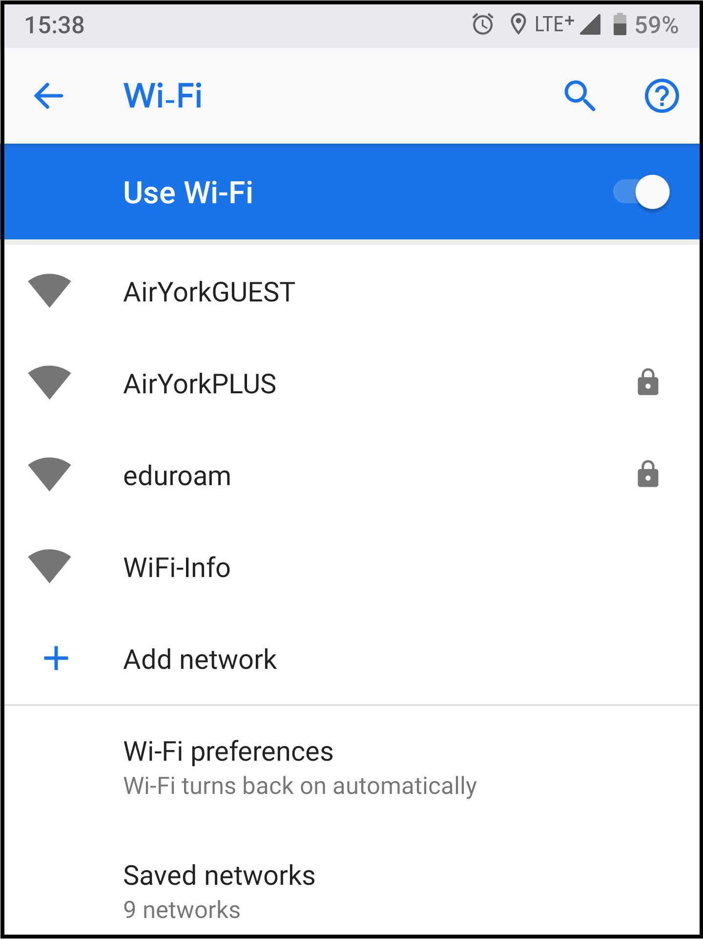 Screenshot of available wifi networks