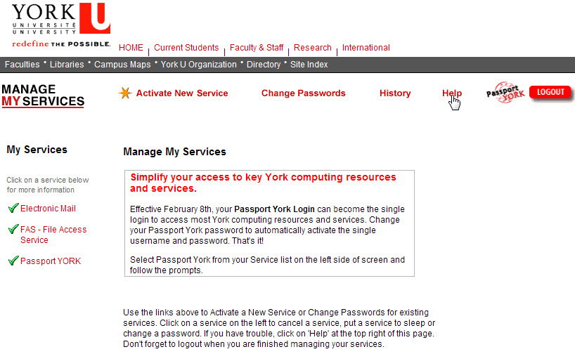 Screenshot of Manage My Services