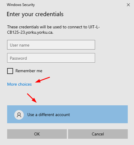 Screenshot of window requesting to enter your credentials