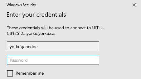 Screenshot of window requesting to enter your credentials for connecting to specific computer