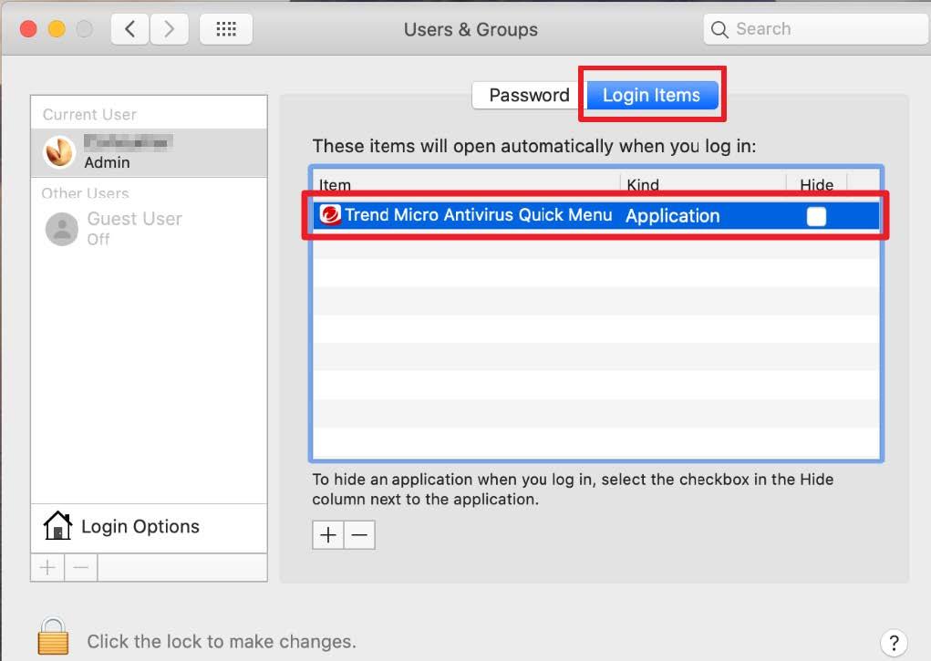 Screenshot of window showing login items