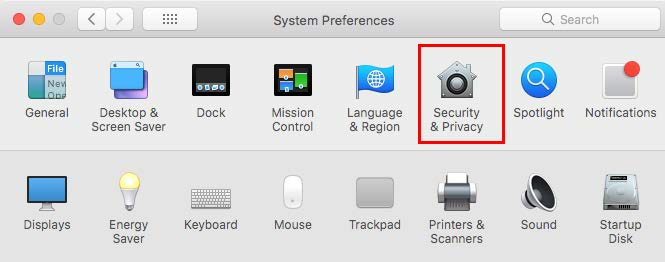 Screenshot of window showing system preferences with security and privacy selected