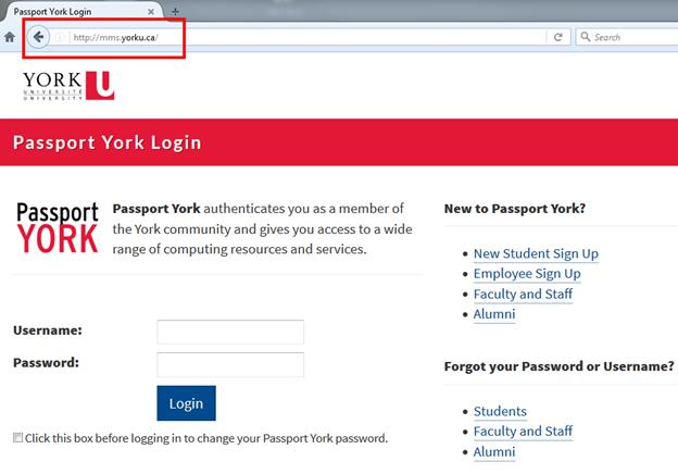 Screenshot of Passport York login page at mms.yorku.ca