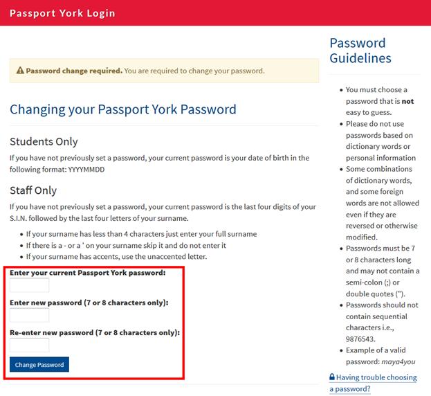 Screenshot of window showing change of password required