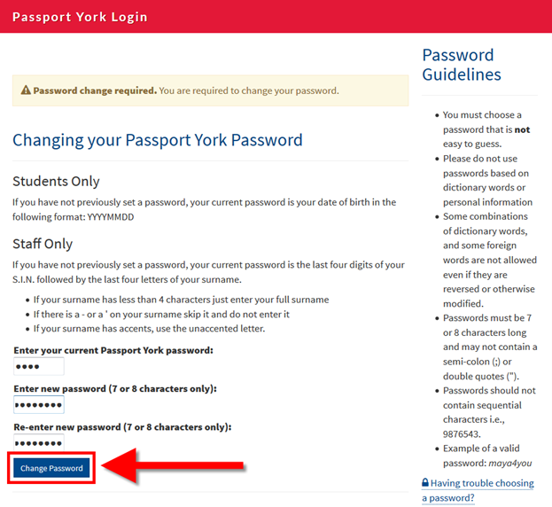 Screenshot of window with change password field highlighted