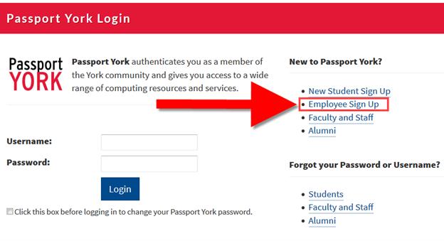 Screenshot of window showing employee sign up selected at mms.yorku.ca