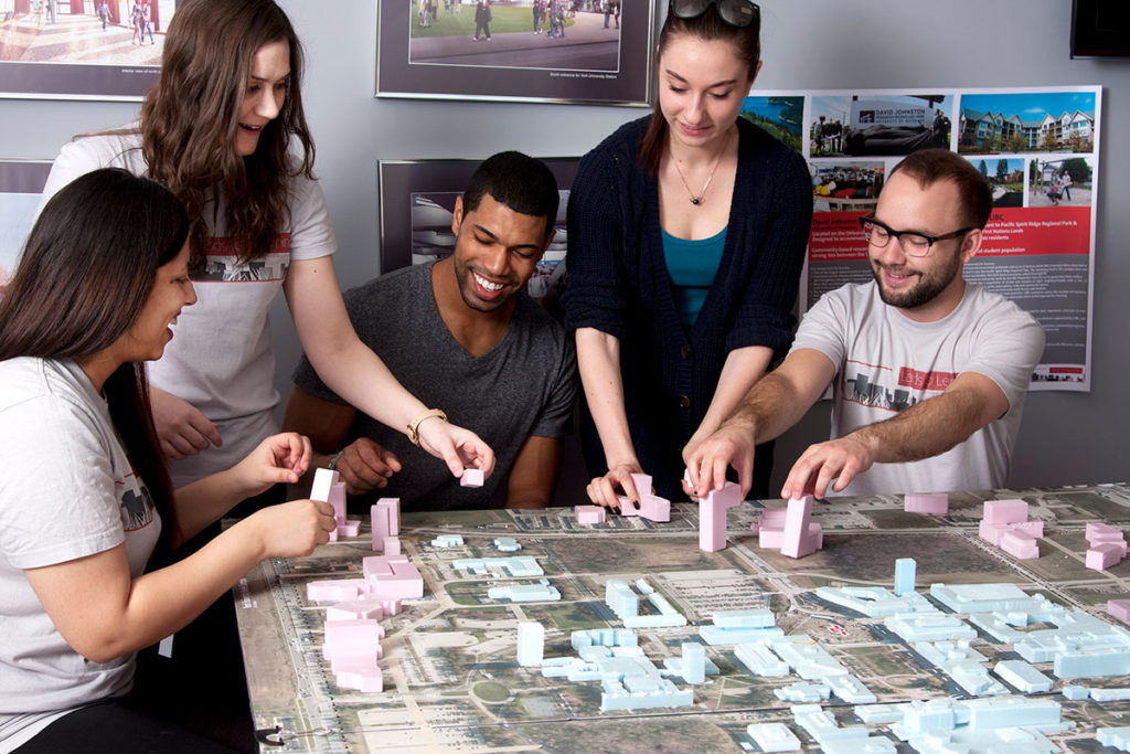Students build a miniature.