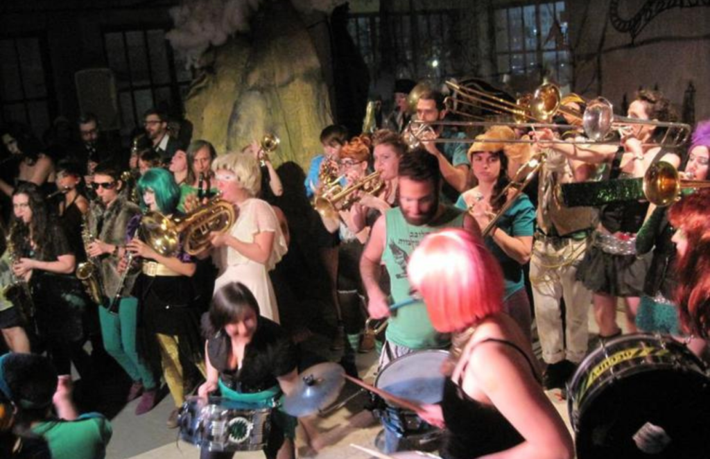 Photo depicts the Rude Mechanical Orchestra, Purim 2012